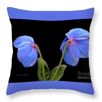 Blue Poppies Throw Pillow by Jeannie Rhode