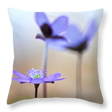Blue Spring Wild Flower Throw Pillow by Dirk Ercken