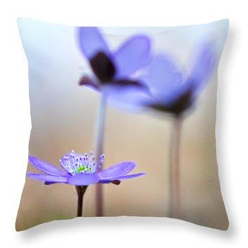 Blue Spring Wild Flower Throw Pillow