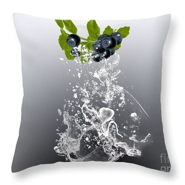 Blueberry Splash Throw Pillow by Marvin Blaine