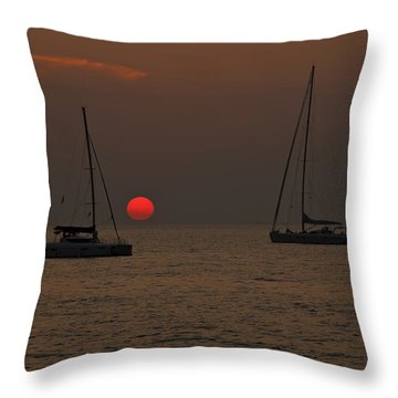 Boats In The Sunset Throw Pillow by Joana Kruse