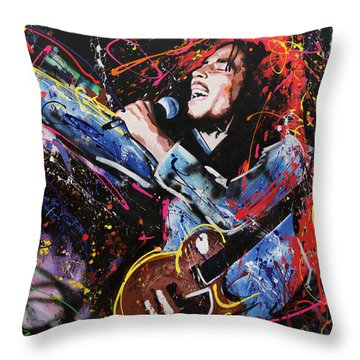 Bob Marley Throw Pillow by Richard Day