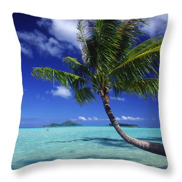 Bora Bora, Palm Tree Throw Pillow by Ron Dahlquist - Printscapes