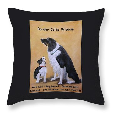 Border Collie Wisdom Throw Pillow