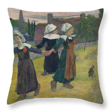 Breton Girls Dancing Throw Pillow