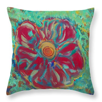 Throw Pillow featuring the painting Bright Red by John Keaton