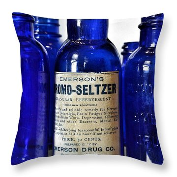 Bromo Seltzer Vintage Glass Bottles Collection Throw Pillow