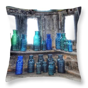 Bromo Seltzer Vintage Glass Bottles  Throw Pillow
