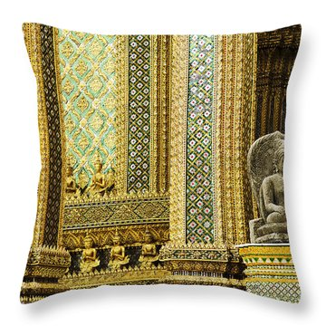 Buddha Statue In Grand Palace Bangkok Thailand Throw Pillow