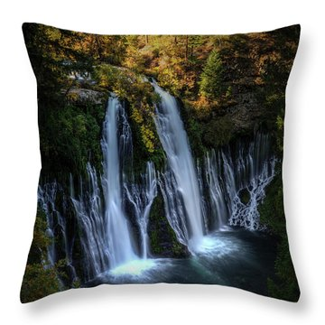 Throw Pillow featuring the photograph Burney Falls by Kelly Wade