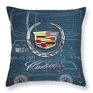 Cadillac 3 D Badge Over Cadillac Escalade Blueprint  Throw Pillow