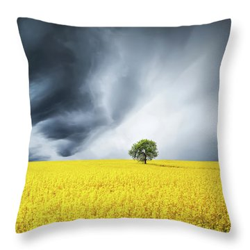 Canola Field Throw Pillow by Bess Hamiti