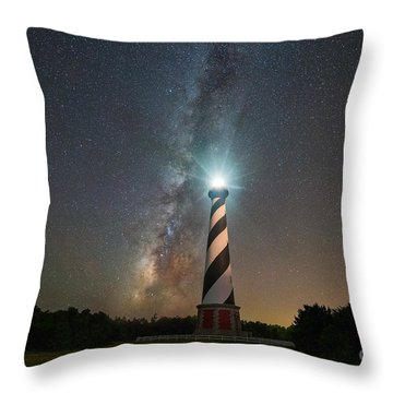 Throw Pillow featuring the photograph Cape Hatteras Lighthouse Milky Way by Michael Ver Sprill