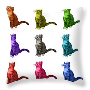 Cat Art - 3771 Bb Throw Pillow by James Ahn
