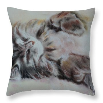 Cat Nap Throw Pillow by Carla Carson