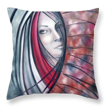 Throw Pillow featuring the painting Catch Me If You Can 080908 by Selena Boron