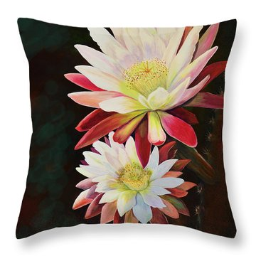Throw Pillow featuring the painting Cereus Business by Marilyn Smith
