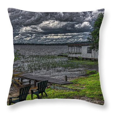 2 Chairs By The Lake Throw Pillow