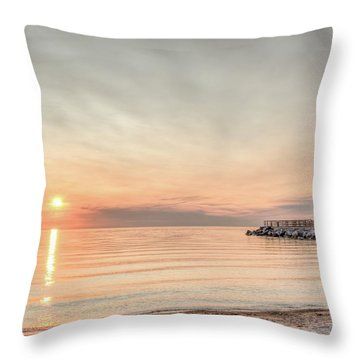 Charelvoix Lighthouse In Charlevoix, Michigan Throw Pillow