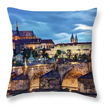 Charles Bridge And Prague Castle / Prague Throw Pillow