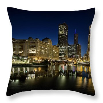 Chicago River And Skyline At Dawn Throw Pillow