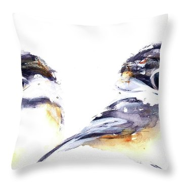 Throw Pillow featuring the painting 2 Chickadees by Dawn Derman