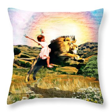 Child Like Faith Throw Pillow by Dolores Develde