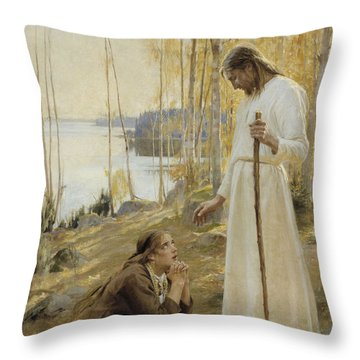 Christ And Mary Magdalene Throw Pillow by Albert Edelfelt