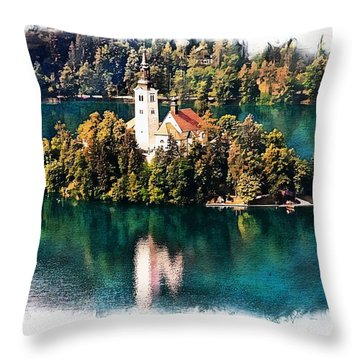 Throw Pillow featuring the photograph Church Of The Assumption - Lake Bled, Slovenia by Joseph Hendrix