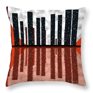 City Skyline At Full Moon Throw Pillow by Michal Boubin