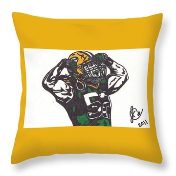 Throw Pillow featuring the drawing Clay Matthews 2 by Jeremiah Colley