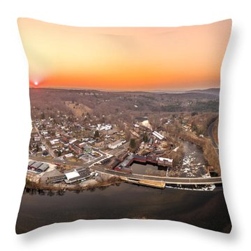 Throw Pillow featuring the photograph Colinsville, Connecticut Sunrise Panorama by Petr Hejl
