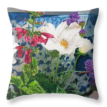 Throw Pillow featuring the painting Cosmos by Karen Ilari