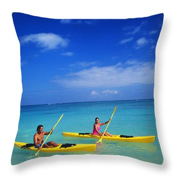 Couple Paddling Throw Pillow by Kyle Rothenborg - Printscapes