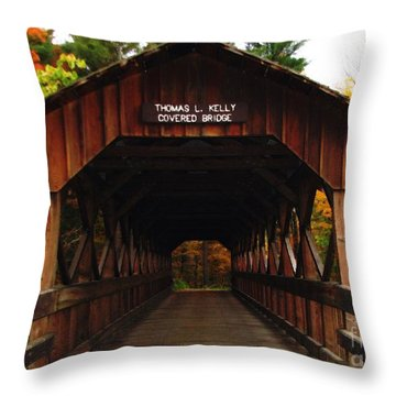 Covered Bridge At Allegany State Park Throw Pillow
