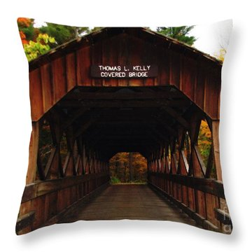 Throw Pillow featuring the photograph Covered Bridge At Allegany State Park by Rose Santuci-Sofranko