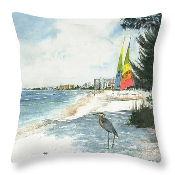 Blue Heron And Hobie Cats, Crescent Beach, Siesta Key Throw Pillow