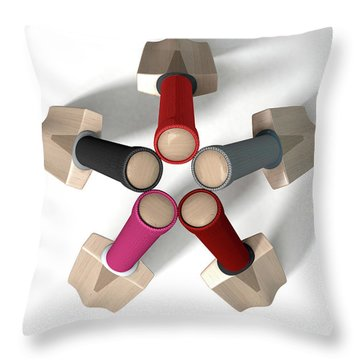 Cricket Bat Circle Throw Pillow by Allan Swart