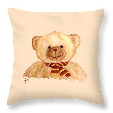 Throw Pillow featuring the painting Cuddly Bear by Angeles M Pomata