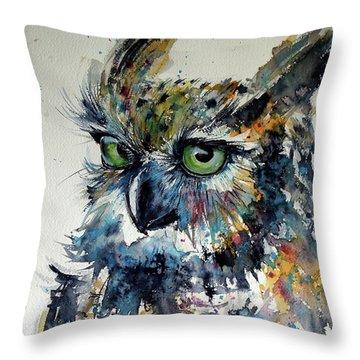 Cute Owl Throw Pillow by Kovacs Anna Brigitta