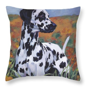 Throw Pillow featuring the painting Dalmatian by Lee Ann Shepard