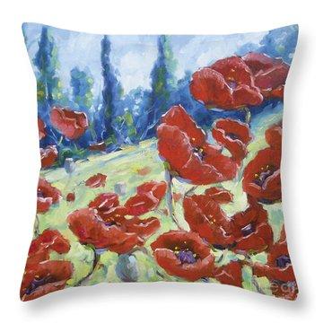 Dancing Poppies Throw Pillow by Richard T Pranke