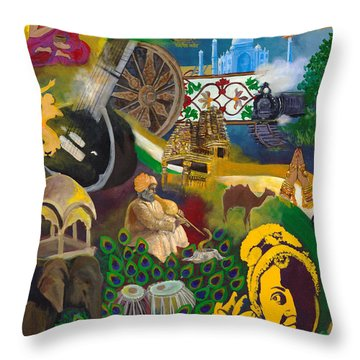 Discover India Throw Pillow by Alika Kumar