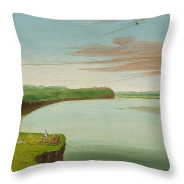 Distant View Of The Mandan Village Throw Pillow by George Catlin