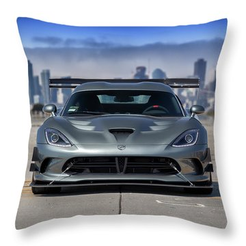 Throw Pillow featuring the photograph #dodge #acr #viper by ItzKirb Photography
