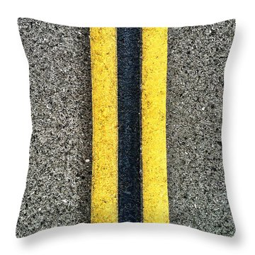 Double Yellow Road Lines Throw Pillow