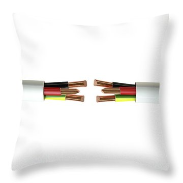 Electrical Cable Cut Throw Pillow