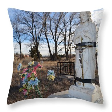 Electrical Tape Jesus Throw Pillow