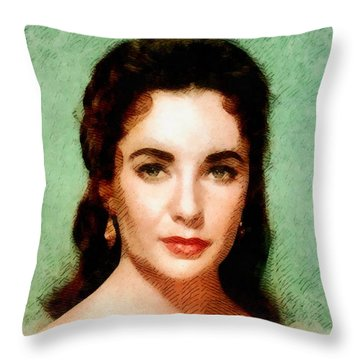 Elizabeth Taylor Hollywood Actress Throw Pillow by John Springfield