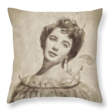 Elizabeth Taylor, Vintage Hollywood Legend By John Springfield Throw Pillow by John Springfield